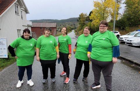 Frisklivsgjengen: I grønne t-skjorter fra ordføreren kommer Frisklivsgjengen til å lyse opp tingvollsamfunnet på sine turer. Fra venstre Turid, Trine, Line Rolland, Anita og Eva. Berit var ikke til stede denne dagen.