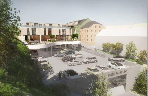 Parkering, legesenter, leiligheter og kontorer. Håkon Aanonsen har mange planer for  den tidligere livbeltefabrikken.