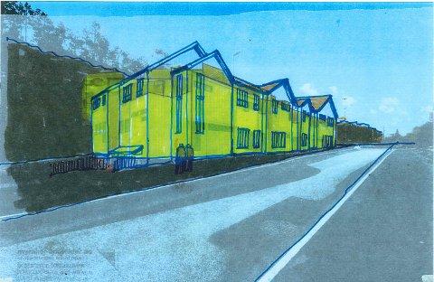 LAVERE: Arkitekt Einar Myraker sier hans forslag er langt mindre ruvende enn det forrige forslaget i prosjektet - og har utarbeidet denne tegningen. Der ser man Myrakers siste forslag i gult, med opprinnelig prosjekt skisset utenfor.