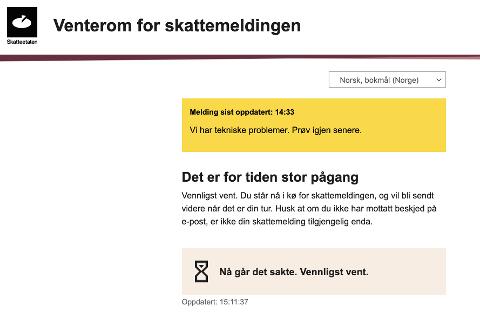 STOR PÅGANG: Slik så skjermbilde ut på skatteetaten.no mandag ettermiddag.