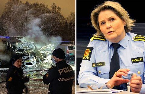 HENLAGT: Bilbrannen på Holmlia ble henlagt svært tidlig og de har skapt reaksjoner. Grete Lien Metlid i Oslo-politiet mener at politiet prioriterer bilbranner stadig mer.