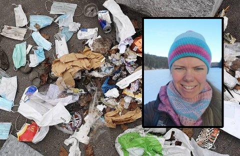 FRUSTRERT SØPPELPLUKKER: - Jeg er jo ikke egentlig en sur person, men jeg blir så forbanna av dette, sier Silje Østby Thune (33) etter dagens søppeljakt.