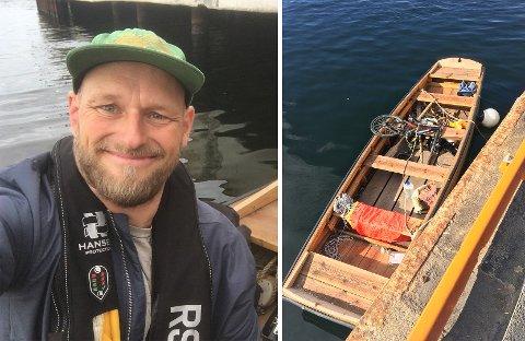 LETTET: Aslak Juell Kristensen er glad for å ha funnet båten. Den var i god stand, tross omstendighetene.