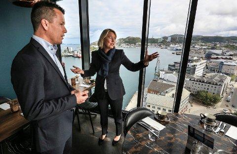 Næringsminister Monica Mæland på besøk på Scandic Havet i Bodø.