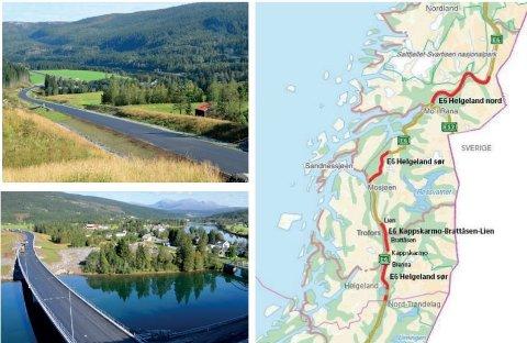 Øverst til venstre viser den nye veien gjennom langstrekningen på Røssvoll, mens bildet under viser brua som erstatter den krappe svingen, der brua kan sees helt til høyre i bildet.