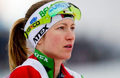 Oslo  20140322. Darya Domracheva/Darja Domratsjeva fra Hviterussland på innskyting før kvinnenes 10 km jaktstart i verdenscupen i skiskyting i Holmenkollen lørdag. Foto: Vegard Grøtt / NTB scanpix