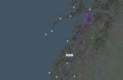 Her har Wizz Air returnert etter at flyet sirklet like sør for Evenes. Flyet var på tur fra Oslo til Tromsø.