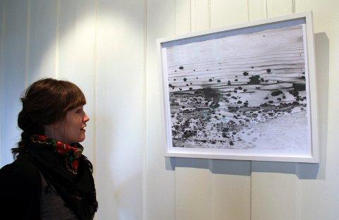 Hanne Grieg Hermansens gjengivelse i blyant - jordslag på treverk, fotografert og overført til tegning. FOTO: KARI GJERSTADBERGET