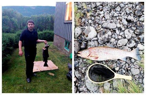 Morten Moe (28) dro inn en ørret på 5,7 kilo på Bådstø.