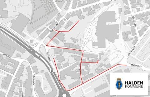 BERØRT OMRÅDE: Dette kartet viser hele anleggsområdet. Den røde streken markerer hvor det vil bli gravearbeider i løpet av perioden.