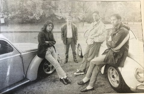 Boblefrelste: F.v. Harald Paulsen, Jon Sleire, Roald Svensson og Per Flisram er alle medlemmer i Odda Luftavkjølte Forening. Fra HF oktober 1996.