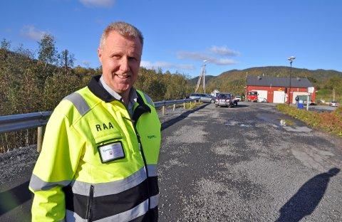 KLART FOR ASFALTERING: Ronny Aanes sier at nå er det meste klart før det skal asfalteres på området til SHMIL på Åremma.