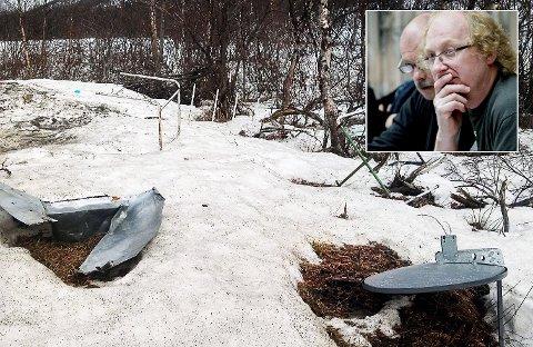 RASER: Søndag fant lokalpolitiker Helge Olaussen en masse søppel ved en avkjørsel i Olderfjorddalen.