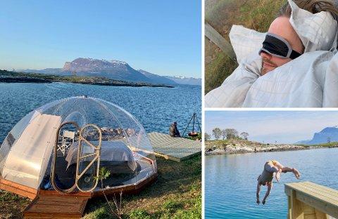 IDYLL: På Harstad Igloo Island er det bare å slenge sakene sine inn i igloen og nyte.