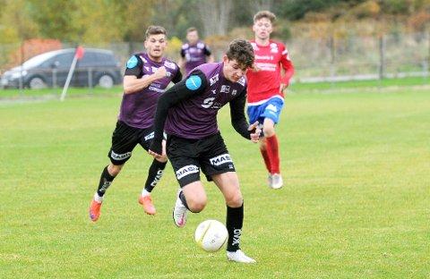 SCORET: Daniel Karlsbakk sørget for at Bryne fikk med seg ett poeng hjem fra Sørlandet. Bak han ser vi Oliver Rotihaug. Bildet er fra kampen mot Vard Haugesund for noen uker siden.