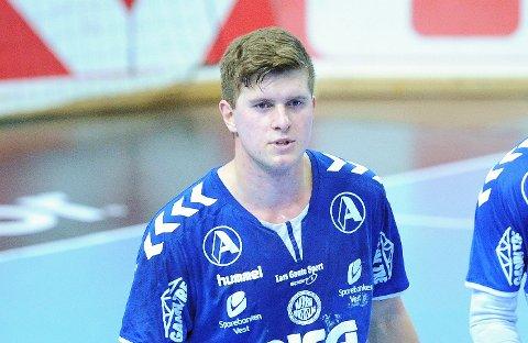PÅ LANDSLAGET: Andreas Horst Haugseng scoret sju mål og ble kåret til Nærbøs beste i tirsdagens cupfinale mot Elverum. 1. januar reiser 22-åringen på sin første seniorlandslagssamling.