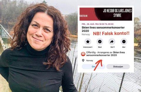 FALSK: Svindlere har kopiert tekst og bilder fra Skien Live på sosiale medier. Daglig leder Cecilie Kollstrøm ønsker nå å advare andre.