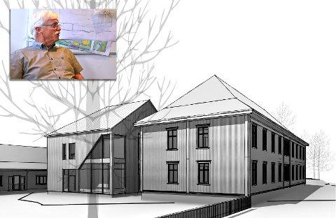 SKISSER: Arkitekt Nils Friis, sier at han har søkt å understreke bygningsvernet basert på oppdraget han fikk. Nå skal han gjøre en tillegsvurdering av Fredheim-prosjektet som skal huse Kongsbergs nye kulturskole.