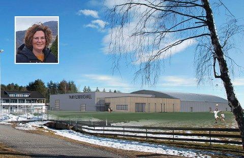 Godt i gang: Planene for den nye hallen på Tranby er godt i gang. Nå frykter Lier IL og styreleder Kristin Leer (innfelt) at de må vente lenger enn ønsket med å komme videre.