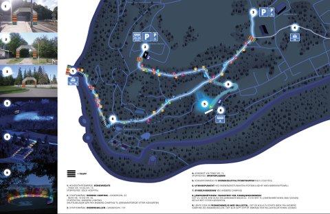 """LØYPENE: Det er forskjellige løyper og utgangspunkt for nattevandringen, som ender ved """"tyskertrappene"""" og hundesletta i Ekebergparken. Her blir det konsert klokken 21. Illustrasjon: Norad"""