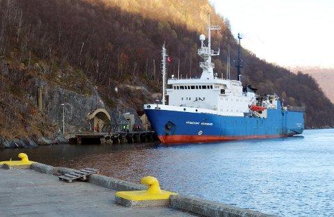 PRIVAT: Den tidligere marinebasen har siden 2013 vært i privat bruk. Blant annet har russiske fartøy leid havneplass her.