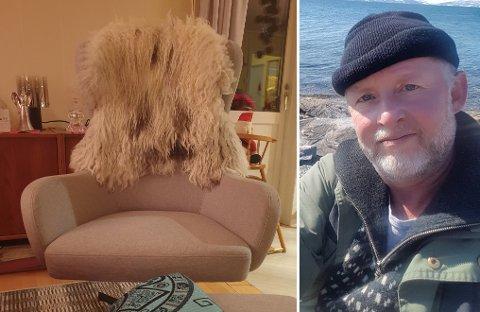 JULEGAVE: Det var denne stolen som falt av bilen til Kjell Pedersen Lind.