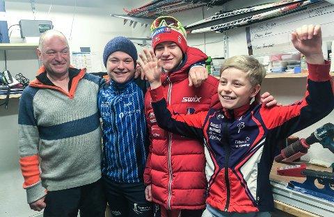 SKISKYTTERFAMILIE: Fauchald-gutta er fornøyde med at konkurransesesongen endelig er i gang - her er de samlet i pappas smørebu; fra venstre Trond, Lars, Eskil og John.