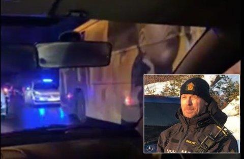 LEDET AKSJONEN: – Mindreårige har vært involvert i kjøp og salg av narkotika i miljøet, samt voldsepisoder, sier politikontakt Mathias Engebakken etter politiaksjonen mot en russebuss fredag kveld.