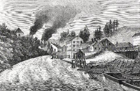 FARRISELVA:  Industrilandskapet langs nedre del av Farriselva i 1859. Til venstre i bakgrunnen ser vi gavlen på kullmagasinet og røyken fra masovnene. På den andre elvebredden ligger sagbruket og helt til høyre litt av mølla. I forgrunnen ses et vannhjul, elveprammer og et tømmeropplag.