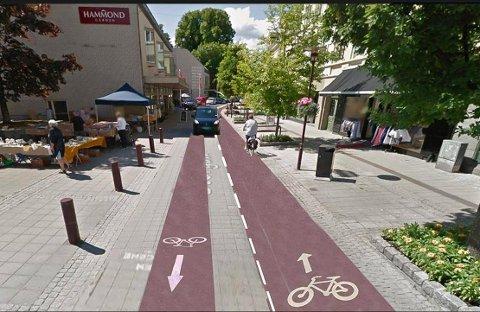 Dette er en skisse som byplanleggerne har lagt fram tidligere. Nå kommer de med mer detaljerte forslag i samme stil, i et forsøk på bedre balanse mellom bil, sykkel, fotgjengere og miljø.