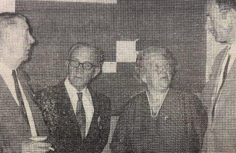 ÆRESMEDLEMMER: Fra venstre: Hardy Bjercke, Peder Flatland, Asta Knudsen og Reidar F. Strander.