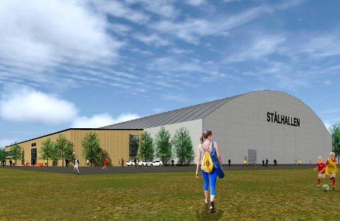 PÅ GANG: Vel to år etter at Stålhallen kollapset, ser det ut til at det blir ny fotballhall på Sagbakken, denne gangen en hall bygd av stålkonstruksjoner.