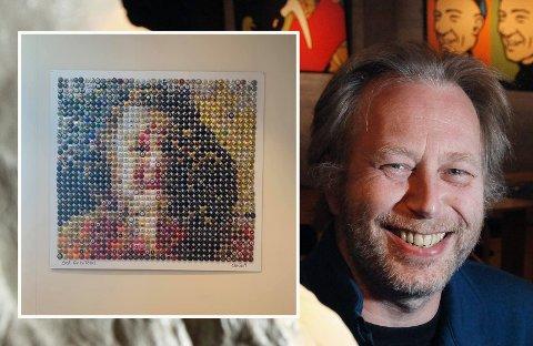 BURSDAGSGAVE: Ola Reibo lagde dette bildet til kona Rita i 60-årsgave. Han har brukt 1260 «korkemuseleter».