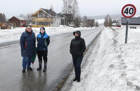 Bjerkamødrene Aud Magnhild Klingen, her sammen med sønnen Ole Nathaniel Birkelund, og Aina Roghell Olsen vil råkjøringen gjennom sentrum av Bjerka til livs. De frykter at høy fart skal ende i ei tragisk ulykke.