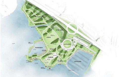 TAR FORM: Mjøsparken tar stadig skritt nærmere ferdigstillelse. Amfiet er planlagt omtrent midt på denne skissen.