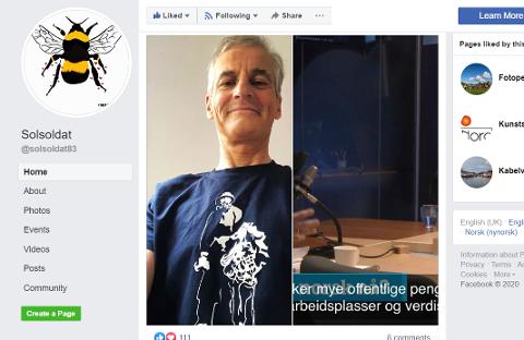 FORNØYD: Solsoldat Rune Francisco Fauske kan glede seg over at Jonas Gahr Støre tydeligvis setter pris på motivet han har designet for t-skjorter.