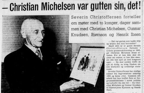 VETERAN: Severin Christoffersen startet «Grensevaktforeningen» på sine eldre dager. I avisen Østlendingen 7.juni 1955 forteller han om sine møter med aktørene fra unionsoppløsningen i 1905.