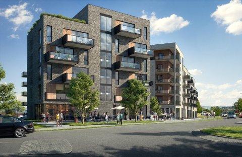 64 leiligheter, samt ny matvarebutikk og næringslokaler, skal bygges på Skjettentoppen.