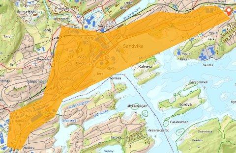 PLANOMRÅDET: Foreløpig oversiktskart over områder der Statens vegvesen ønsker å gjennomføre grunnundersøkelser