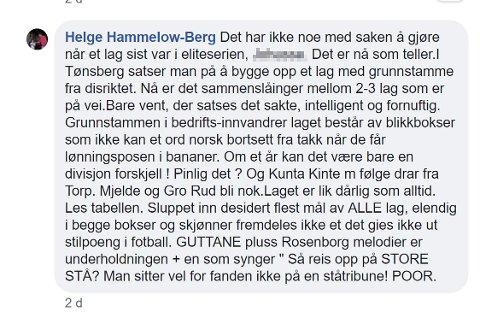Her er det opprinnelige innlegget til Helge Hammelow-Berg. Det er nå slettet fra Facebook.