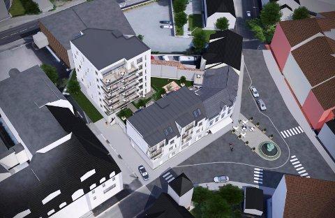 LAVERE: Boligblokka i Chr. Hvidts Plass 3 slik den nå foreligger. Politikerne behandler prosjektet igjen 7. november. (Illustrasjon: Spir Arkitekter)