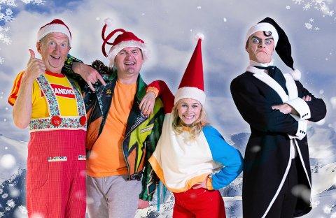 PAKKETYV: Svartnissen (Robin Horsgaard Larsen) er slett ikke grei, for han rapper alle gavene. Da må Kissa Nissemann (Øyvind Angeltveit), Ove Rocketroll (Heljar Berge) og Kaja Caboom (Dagrun Anholt) være lure for å redde jula.