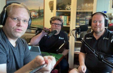PODCAST-TRIO: Klaus Jacobsen (f.v), Fred Haugland og Lars (Larsi) Askvold er nå klare med Runar-podcasten BRØYT!