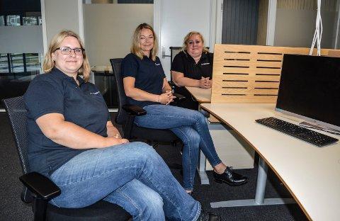 TRE ANSATTE: Utleiemeglingen starter opp med tre medarbeidere i Sandefjord, f.v. Cathrine Sesseng, Lene Tofsland og Camilla Saga Næss.