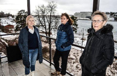 BEKYMRET:  – Vi er forberedt på utbygging nedenfor oss, men ikke med så store volumer som foreslått, sier Langestrandkomiteen i Sameiet Framnesveien 35, Kari Bø (f.v.), Ann Kristin Jahnsen og Kirsti Opstad.