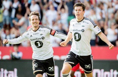 Mike Jensen (t.v) og Pål André Helland er to av de virkelige profilene for et solid Rosenborg i år. De bør kunne ta seg av KR Reykjavik på Island torsdag, så vi setter en rein B i kamp 12 på midtukekupongen.