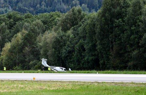 UHELL: Det skjedde et uhell ved landing søndag ettermiddag. Ingen ble skadet.