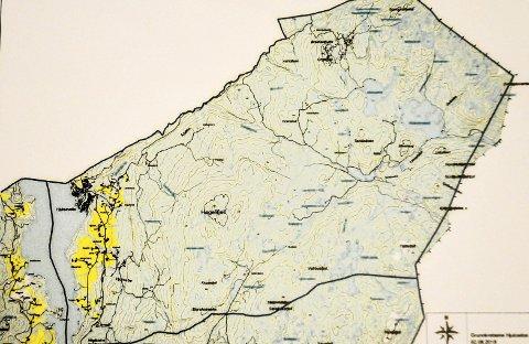 Kart: Dette er Hjuksebø og Angard kretser i Sauherad. Kanskje blir de en del av Notodden.