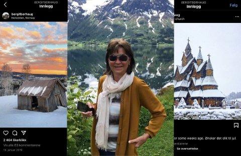 Instagram -suksess fra Heddal: Bergit Borhaug (73) tar alltid bilder når hun er på tur. De siste årene har hun delt de med sine 23 000 følgere på Instagram.