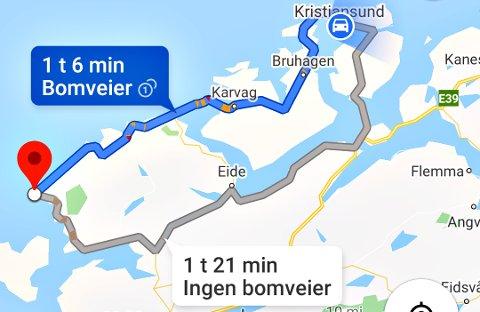 Dersom man vil se på mulige reiseruter mellom Kristiansund og Bud, kommer disse alternativene opp i Google Maps. Atlanterhavstunnelen er fortsatt lagt inn med bomvei. Dermed kan reisende på biltur vurdere det som bedre å kjøre den andre ruten med «ingen bomveier» selv om det tar litt lengre tid.